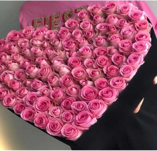 Large Black Love Box Pink Roses