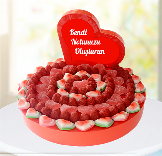 Kişiye Özel Kalbinden Kalbine Mesajlı Pasta
